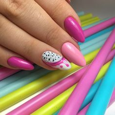 colorful nail art for young lady in 2019 - Page 65 of 101 - iprettygirl Bright Red Nails, Yellow Nails, Green Nails, Pink Nails, Fruit Nail Designs, Easter Nail Designs, Red Nail Designs, Nail Color Trends, Nail Colors