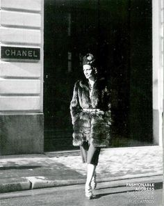 1938 - Coco Chanel  in front of the rue Cambon shop by François Kollar