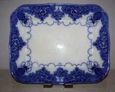 Antique Ford & Co. Lonsdale Flow Blue Meat Tray Platter cir 1895 Staffordshire