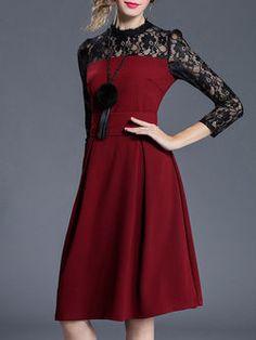 Paneled Pierced Lace Midi Dress