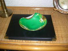 Bohemian Enameled Green Glass Bowl - circa 1920's