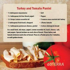 doTERRA Lemon Turkey & Tomato Panini Recipe