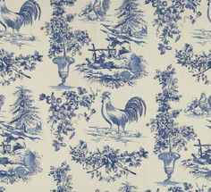 French Country Rooster Toile Fabric Blue