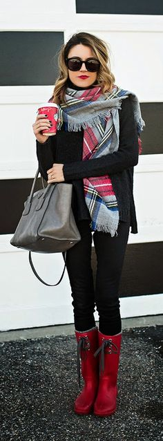 Plaid scarf, Black coated jeans, Vince Charcoal Turtleneck, Grey Prada Bag, Red rain boots | Designer Deal Today