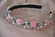 Ободок для волос из натуральных камней - бледно-розовый,ободок,обруч,волосы