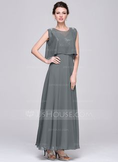 A-Line/Princess V-neck Ankle-Length Ruffle Zipper Up at Side Regular Straps Sleeveless Yes 2015 Other Colors Spring Summer Fall Winter General Plus Chiffon Sequined Mother of the Bride Dress