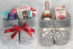 4 Cute DIY Christmas Slippers Gift Basket Ideas - Savvy Honey - This Christmas slippers gift basket idea is stuffed with cute treats & goodies! Perfect for a holid - Diy Christmas Gifts For Friends, Christmas Gift Baskets, Homemade Christmas Gifts, Homemade Gifts, Craft Gifts, Diy Gifts, Holiday Gifts, Christmas Diy, Family Gifts