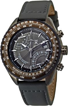 TX Men's T3C188 Pilot Fly-Back Chronograph Grey Case Dial Strap Watch