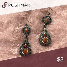 """Colorful Earrings Beautifully multi-colored earrings. Dangling and textured with silver tones. Measures 2.5"""" bundle and save 25%. Jewelry Earrings"""