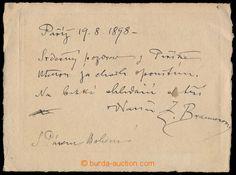 1898 BRAUNEROVÁ Zdenka (1858-1934), významná česká malířka, vlastnoručně psaný text s podpisem na grafickém lístku Paříže; zajímavé, dobrý stav Zařazeno : Autogramy + autografy / Umělci, U:A5 | Den dražby: Sobota500 Kč 1 900 Kč +280,00% KOUPIL TLUKA č. 1413