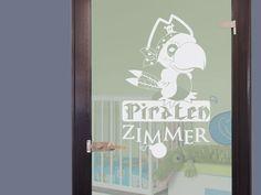 #Glasdekor Glastür Aufkleber #Fensterfolie für #Kinderzimmer Spruch Piraten