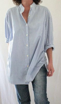 J. Jill Vintage Mandarin Collar Button Down Striped Oversize Tunic Blue Sz L…