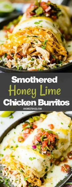 Smothered Honey Lime Chicken Burritos - - You just want to grab a hot, fresh rotisserie chicken from the store but then what do you make with rotisserie chicken? The BEST Smothered Honey Lime Chicken Burritos of course! Healthy Dinner Recipes, Mexican Food Recipes, Cooking Recipes, Cooking Courses, Easy Recipes, Uk Recipes, Oven Recipes, Indian Recipes, Healthy Drinks