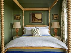 Green and brown bedroom gorgeous farmhouse four poster bed in green bedroom green and brown room . green and brown bedroom White Bedroom Furniture, Bedroom Green, Green Rooms, Bedroom Decor, Bedroom Ideas, Bedroom Photos, Green Walls, Farm Bedroom, Gold Bedroom
