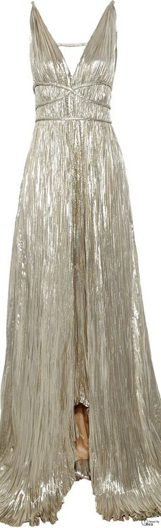 Oscar De La Renta ● Silver Pleated Lamé Gown