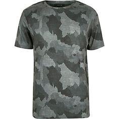 T-shirt imprimé camouflage gris