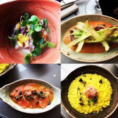 Yellowtail ceviche - tonno tataki and tomato gazpacho - salmon tiradito -saffron risotto prawns and lemon zest @radiorooftopmilan #foodporn #foodart #yummi #delicious #overthetop #thanks #madunina #milano #memilanilduca