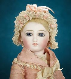 """French Bisque Bebe, Emile Jumeau, Cartouche Signature, Original All-Wooden Body 14,000/18,000 