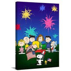 Marmont Hill Peanuts Fourth of July Peanuts Print on Canvas, Size: 12 inch x 18 inch, Multicolor