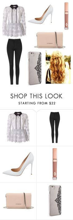 """Black and White Casual Day."" by socialmedialover300 ❤ liked on Polyvore featuring self-portrait, Topshop, Gianvito Rossi, Charlotte Tilbury, Givenchy and Nanette Lepore"