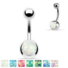 Opal Glitter Set 316L Surgical Steel Belly Button Rings, Women's