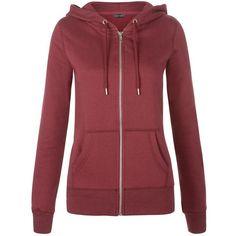 New Look Burgundy Basic Zip Up Hoodie ($21) ❤ liked on Polyvore featuring tops, hoodies, jackets, outerwear, sweaters, sweatshirts, burgundy, burgundy hoodie, long sleeve hoodies and red hoodies