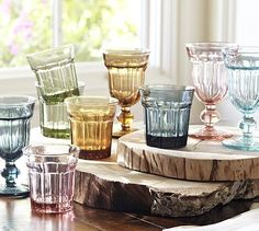 The blush tumblers coordinate beautifully with our everyday china and glass goblets...Colorful Cafe Glassware, Set of 6 #potterybarn