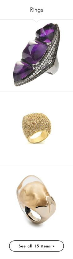 """""""Rings"""" by mamatoodie-1 ❤ liked on Polyvore featuring jewelry, rings, anillos, 18 karat gold jewelry, amethyst diamond ring, 18k diamond ring, amethyst stone ring, amethyst jewellery, gold cocktail rings and gold dome ring"""