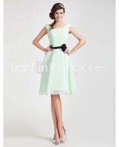A-line Strapless Sleeveless Tea-length Lace Over Elastic Satin Bridesmaid Dress - US$115.19 - english