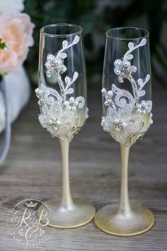 Personalize Wedding Champagne Flutes Vintage by RusticBeachChic
