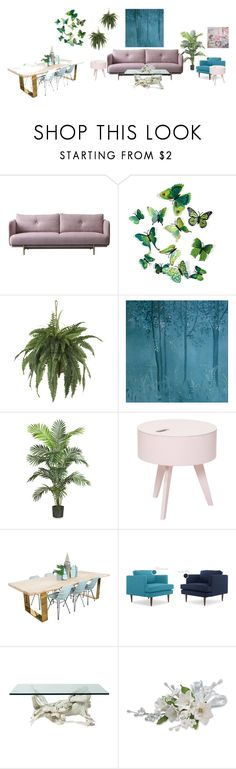 """""""studio apt. living room"""" by aqualyra ❤ liked on Polyvore featuring Nearly Natural, Bloomingville, living room, modern and relaxed"""