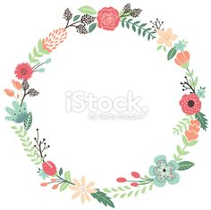 Vintage Flowers Wreath Royalty Free Stock Vector Art Illustration