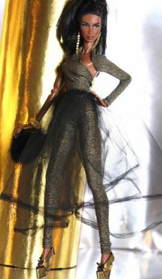 dollsalive outfit,for fashion royalty, fr2 gold-black jumpsuit,skirt, shoes,bag
