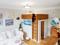 Smart Ideas for Small Space Interiors With If a Walk in Closet is Your Dream Even in a Small Space then Loft Your Bed Fulfill Staircase Adult Loft Bed, Adult Bunk Beds, Bed Images, Bedroom Images, Under Bed Storage, Built In Storage, Bed Divider, Divider Ideas, Bedroom Reading Nooks