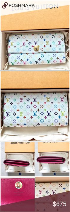 💯❤️😍Authentic Louis Vuitton Multicolored Wallet Purchased this Authentic Louis Vuitton multicolored wallet from the Takashi Mukarami Collection to use with my multicolored Alma bag but since I decided to sell my Alma bag ,I am selling the wallet also . Wallet is in pristine condition with no rip or tear except for a little fading on the gold button closure ... item comes with dust bag and box and code is TH1069 made in France .. TV is more than actual listed price Louis Vuitton Bags…