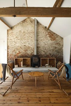 Exposed Brick wall : Living Room Wood Beams Wood Stove