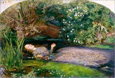 Ophelia by British artist J.E. Millais.      Ophelia is a character in Hamlet. She is driven mad when her father, Polonius, is murdered by her lover, Hamlet. She dies while still very young in grief and madness. The events shown in Millais's Ophelia are not actually seen on stage. Instead they are referred to in a conversation between Queen Gertrude and Ophelia's brother Laertes. Gertrude describes how Ophelia fell into the river whilst picking flowers and slowly drowned, singing all the while.