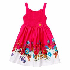 Floral Print Dress with Smocking $11.99