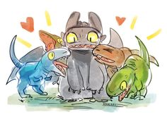 Crossover with Jurassic World ...  How to train your dragon, toothless, night fury, dragon, juraasic world, raptor, raptor squad, blue, delta, echo, charlie