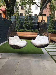 Chairs attached to Pergola Harlem backyard garden Pergola Swing, Swinging Chair, Outdoor Furniture, Outdoor Decor, Hammock, Townhouse, Swings, Backyards, Garden
