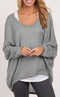 Love this Layered Sweater! Stylish Scoop Neck Long Sleeve Silver Grey Women's Sweater