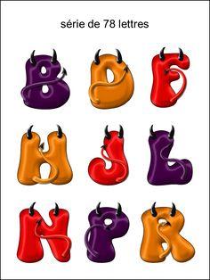 DK - collection des lettres de l'alphabet  diable rouge orange violet - smiley émoticône clipart cartoon - téléchargement gratuit et sans inscription
