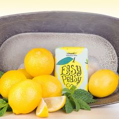 POSH EASY PEASY Keep bath time easy peasy lemon squeezy with this sweet mint and bright lemon bar. Rainforest Alliance Palm Oil and shea butter moisturize and hydrate, while lemon peel keeps you bouncing. Lather into hands and clean from head to toe, then rinse thoroughly. Use daily for maximum giggles and mood enhancement. Fragrance:  Sweet mint and bright lemon