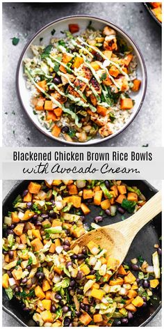 Blackened Chicken Brown Rice Bowls with Avocado CreamYou can find Bowls recipe and more on our website.Blackened Chicken Brown Rice Bowls with Avocado Cream Chicken And Brown Rice, Chicken Rice Bowls, Healthy Dinner Recipes, Cooking Recipes, Healthy Brown Rice Recipes, Cooking Rice, Recipes With Brown Rice, Recipes With Avocado, Zone Recipes