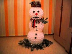 Snowman Made of  Plastic Cups and Christmas Light Installation