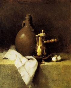 Emil Carlsen Still Life with Garlic (coffee pot and earthen jug) 1905