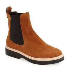 Women's M4D3 'Felix' Chelsea Boot ($96) via Polyvore featuring shoes, boots, ankle booties, earth brown suede, brown booties, chunky booties, chelsea bootie, brown ankle booties and suede booties