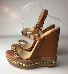 52020e3c3452 Christian Louboutin Cataclou 140 Brown Leather Studded Espadrille Wedges  Euro 39