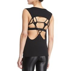 Koral Activewear Aura Strappy-Back Performance Tank ($94) ❤ liked on Polyvore featuring activewear, activewear tops, black, sleeveless pullover, sweater pullover y black pullover