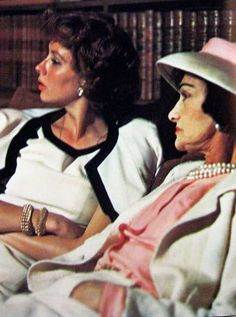 Coco Chanel with American beauty Suzy Parker, wearing signature Chanel in the late fifties